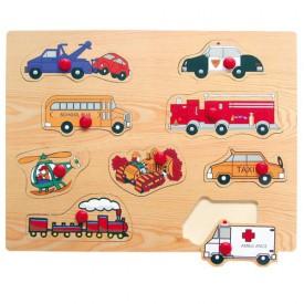 Dřevěné hračky - Vkládací puzzle - Dopravní prostředky E