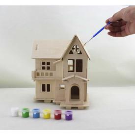 Dřevěný domeček pro panenky Katie natur s barvama