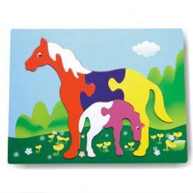 Dřevěné hračky - Vkládací puzzle - Vkládačka - Koně