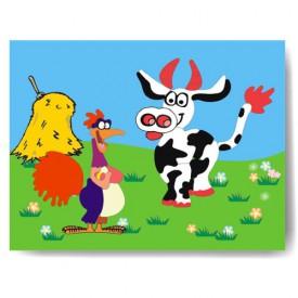 Dřevěné hračky - Vkládací puzzle - Vkládačka Kohout a kráva