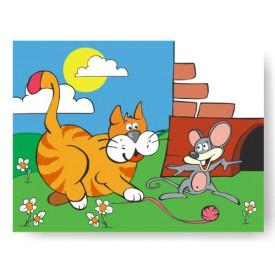 Dřevěné hračky - Vkládací puzzle - Vkládačka - Kočka s myší