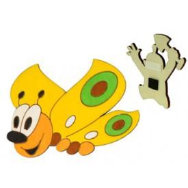 Dřevěné dekorační magnetky - magnetka Motýl žlutý