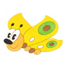 Dřevěné dekorace - Střední dekorace Motýl žlutý