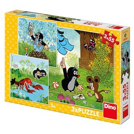 DINO Puzzle Krteček a kalhotky 3 x 55 dílků