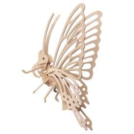 Dřevěné 3D puzzle dřevěná skládačky hmyz - malý Motýl E022