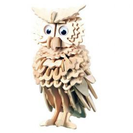Dřevěné 3D puzzle dřevěná skládačka ptáci - Sova E038