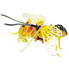 Dřevěné 3D puzzle dřevěná skládačka hmyz - Včela EC030