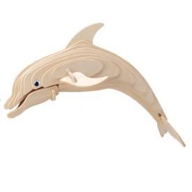 Dřevěné 3D puzzle dřevěná skládačka zvířata - Delfín H002