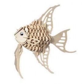 Dřevěné 3D puzzle dřevěná skládačka zvířata Zlatá rybka H010