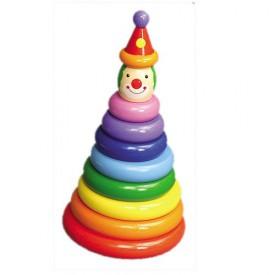 Dřevěné hračky - Motorické hračky - Navlékání na tyč klaun