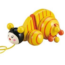 Dřevěné hračky - Tahací hračky - Tahací šnek