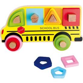 Legler Dřevěná třídící hra školní autobus