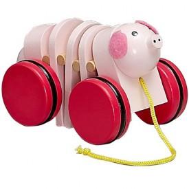 Dřevěné hračky - Tahací hračky - Tahací prasátko
