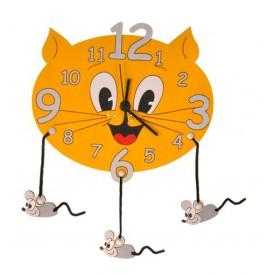 Dětské dřevěné hodiny - Kočka s myškami