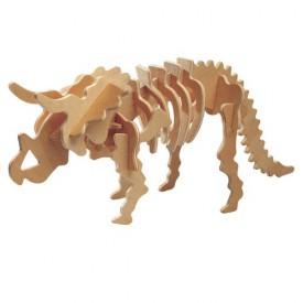 Dřevěné 3D puzzle skládačka dinosauři - Triceratops J001