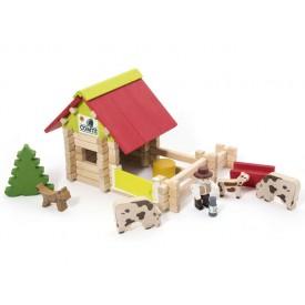 Jeujura Dřevěná stavebnice 70 dílů malá farma