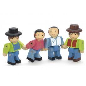 4 dřevěné pohyblivé figury stavebnic Jeujura