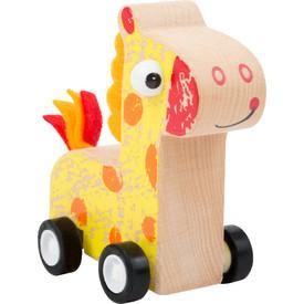 Small Foot Dřevěná žirafa na kolečkách žlutá