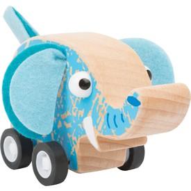 Small Foot Dřevěný slon na kolečkách modrý