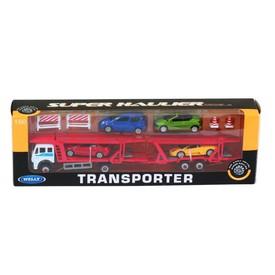 Welly  Transporter tahač s přívěsem a 4 autíčky model 1:60
