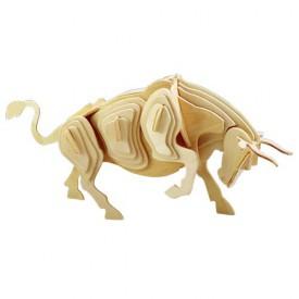 Dřevěné 3D puzzle dřevěná skládačka zvířata - Býk M002