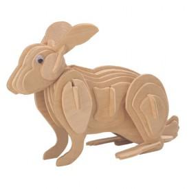 Dřevěné 3D puzzle dřevěná skládačka zvířata - Králík M004