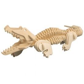 Dřevěné 3D puzzle dřevěná skládačka zvířata - Krokodýl M013