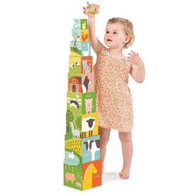 Petitcollage Věž z 1-2-3 kostek s domácími zvířátky