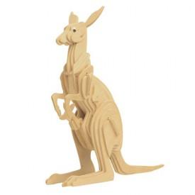 Dřevěné 3D puzzle dřevěná skládačka zvířata - Klokan M017