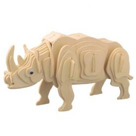 Dřevěné 3D puzzle skládačka zvířata - Bílý nosorožec M018
