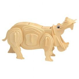Dřevěné 3D puzzle dřevěná skládačka zvířata - Hroch M019