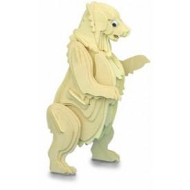 Dřevěné 3D puzzle skládačka zvířata - Medvěd Grizzly M022