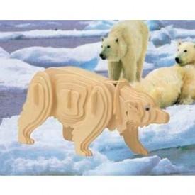 Dřevěné 3D puzzle skládačka zvířata - Polární medvěd M023