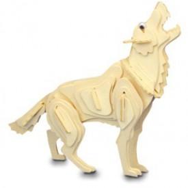 Dřevěné 3D puzzle dřevěná skládačka zvířata - Vlk M024