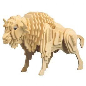 Dřevěné 3D puzzle dřevěná skládačka zvířata - Bizon M027