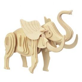 Dřevěné 3D puzzle dřevěná skládačka zvířata - malý Slon M029