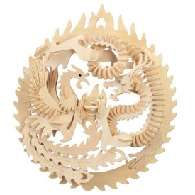 Dřevěné 3D puzzle skládačka zvířata - Fénix a drak M035