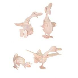 Dřevěné 3D puzzle dřevěná skládačka zvířata - Kachny M038
