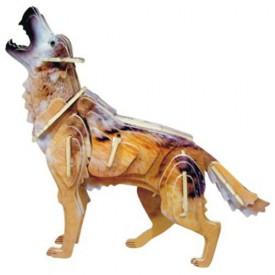 Dřevěné 3D puzzle dřevěná skládačka zvířata - Vlk MC024