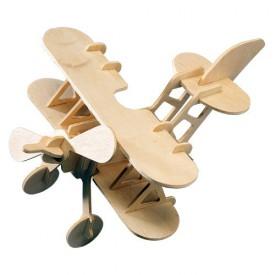 Dřevěné skládačky 3D puzzle - Letadlo dvojplošník P002