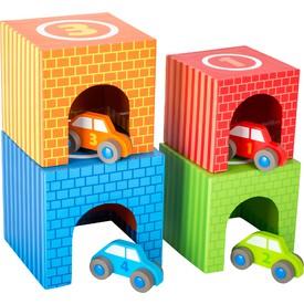 Legler Dřevěné skládací kostky s auty