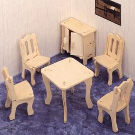 Dřevěné skládačky 3D puzzle nábytek a ostatní - Jídelna P011