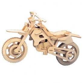 Dřevěné 3D puzzle dřevěná skládačka Motorka Terénní P022
