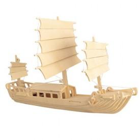 Dřevěné 3D puzzle -dřevěná skládačka Čínská plachetnice P045