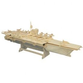 Dřevěné 3D puzzle lodě dřevěná skládačka Letadlová loď P048