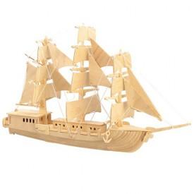 Dřevěné 3D puzzle - dřevěná skládačka - loď Plachetnice P049