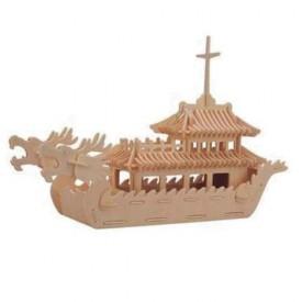 Dřevěné 3D puzzle lodě - dřevěná skládačka - Čínská loď P085
