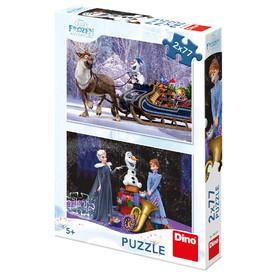 DINO Puzzle Frozen Vánoce 2 x 77 dílků