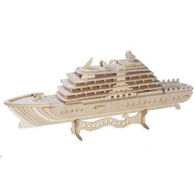 Dřevěné 3D puzzle lodě dřevěná skládačka Luxusní jachta P119