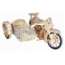 Dřevěné 3D puzzle motorky - Motorka trojkolka -Saidkára P124